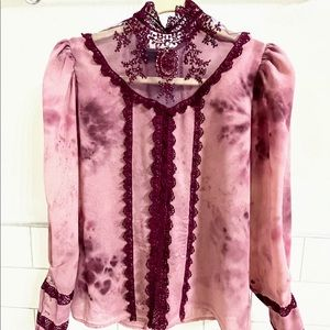 OOAK Hand Dyed & Embroidered Victorian  '80's Top